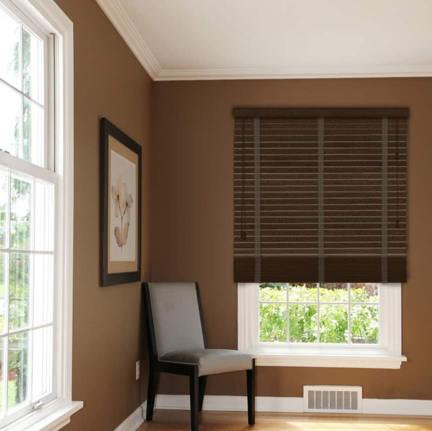 Cheapest blinds uk ltd rich mahogany with tapes for Blinds outside recess