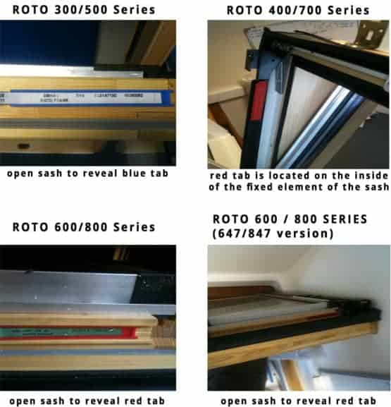 Roto window size identification guide