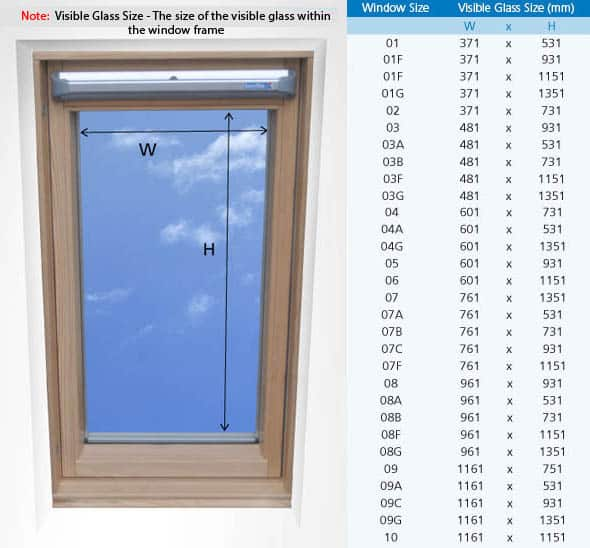 keylite-roof-window-size-guide