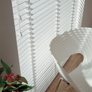 Bright White Painted Wooden Venetian Blinds