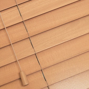 Beech Wooden Venetian Blinds With Cords Close Up