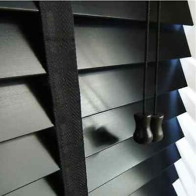 black wood venetian blinds with tapes
