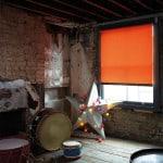 cheap bright orange roller blind