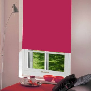bright pink roller blind with dim out fabric