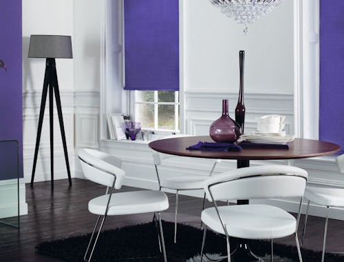 purple roller blind with dim out fabric
