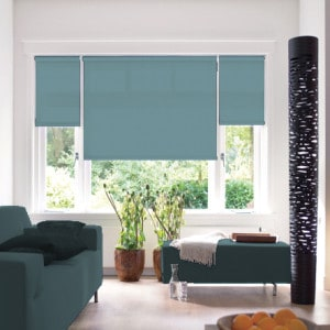 duck egg blue roller blind with dim out fabric