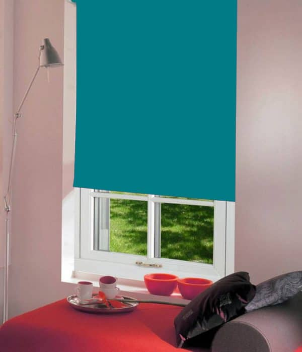 Turquoise Roller Blind with dim out fabric