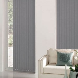 dark grey vertical blinds
