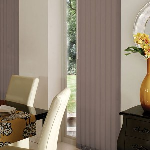 taupe vertical blinds
