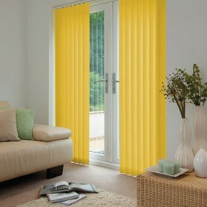 bright yellow vertical blinds