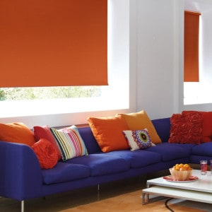 cheap orange blackout roller blind