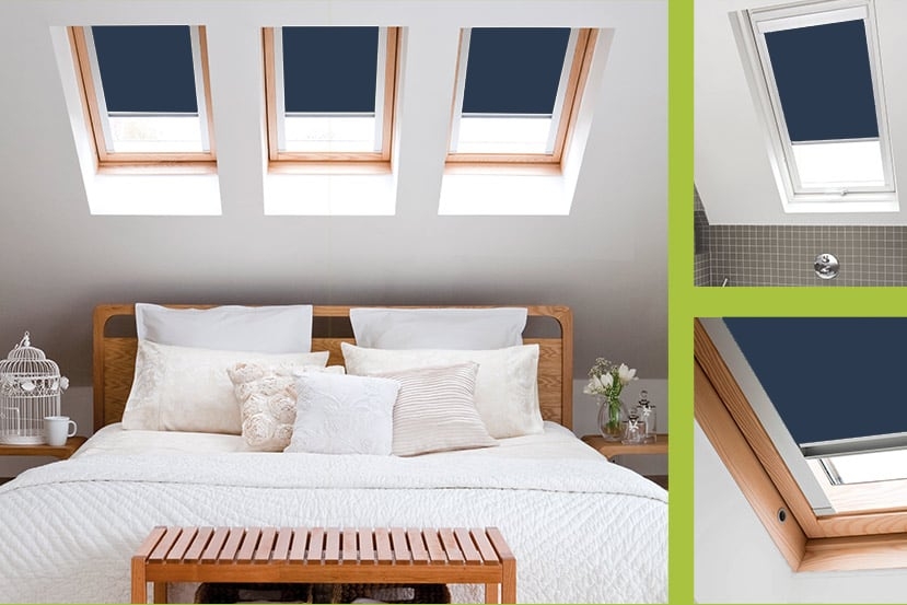 Navy Blue Roof Skylight Blinds For Roto Windows Cheapest