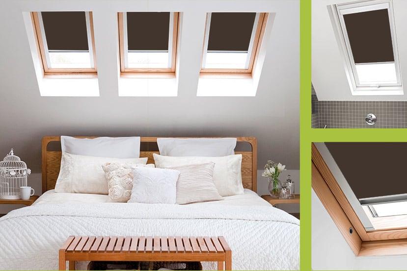 Cheapest Blinds Uk Ltd Brown Roof Skylight Blinds For
