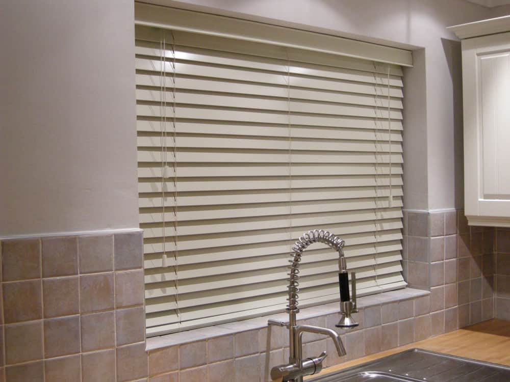 Cream Faux Wood Venetians Wood Grain Effect With Cords