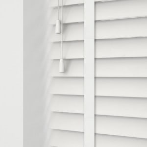 Cheap Bright White Faux Wood Venetian Blinds With Tapes