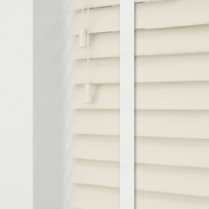 Cream faux wood venetian blinds with tapes wood grain effect