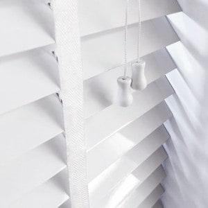 next day bright white wooden venetian blinds with tapes