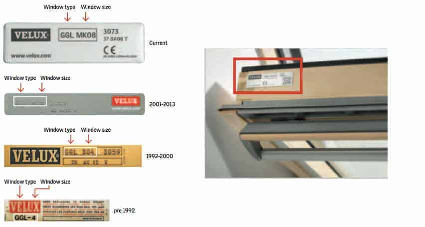 VELUX window size code identification