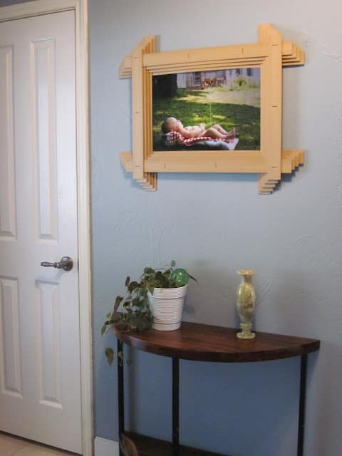 wooden blind picture frame end result