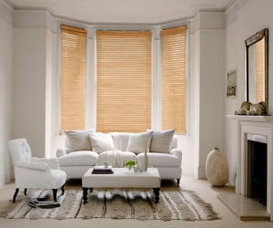 Tawny Wooden Venetian Blinds With Cords