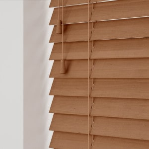 Burnished Oak Wooden Venetian Blinds With Cords
