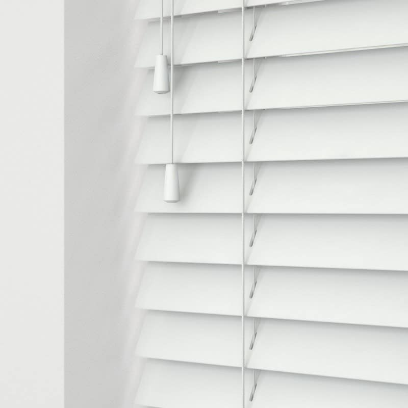 Ready Made White Wood Venetians (With Cords) – Cheapest Blinds UK Ltd