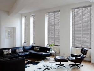 Ash Grey Wooden Venetian Blinds With Tapes