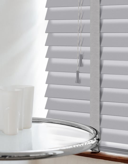 Ash Grey Wood Venetian Blinds With Tapes