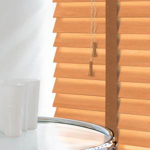 Burnished Oak Wooden Venetian Blinds With Tapes