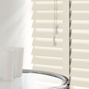 Cream Wooden Venetian Blinds With Tapes