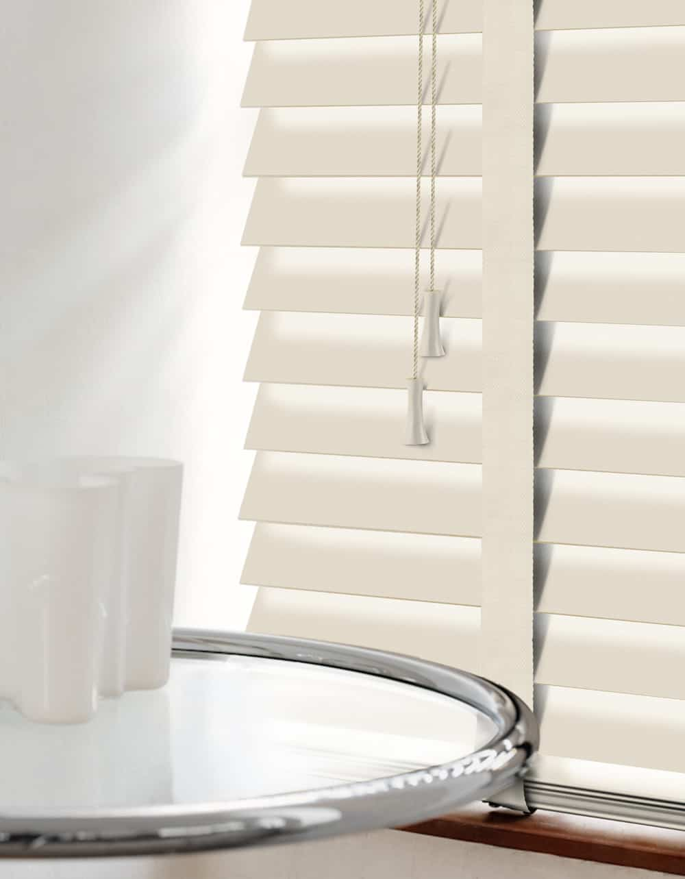 Premium Cream Wood Venetians With Tapes Cheapest
