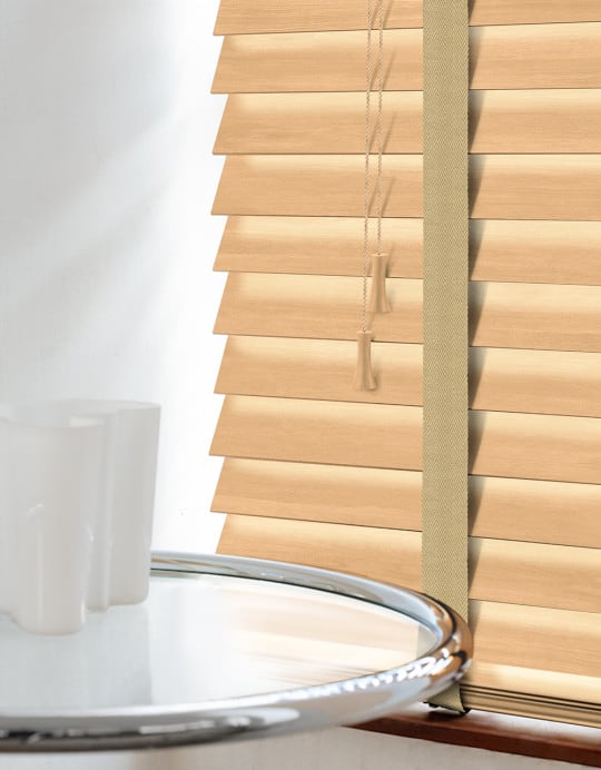 Tawny Wood Venetian Blinds With Tapes