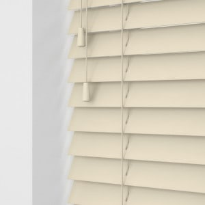 Butter cream faux wooden venetian blinds with cords