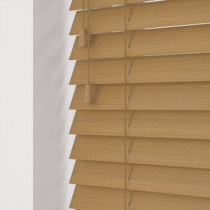 Light Oak Faux Wood Venetian Blinds With Cords