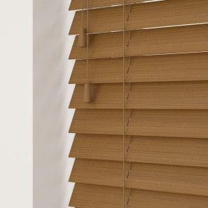 Medium Oak Faux Wood Venetian Blinds With Cords