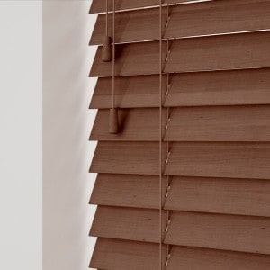 Medium Oak Wood Venetians With Cords