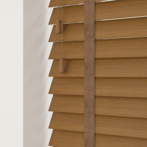 Cheap Medium Oak Faux Wood Blinds With Tapes