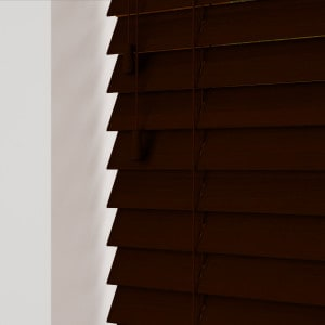 Rich Mahogany Wood Venetian Blinds With Cords