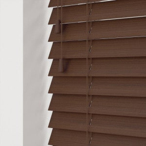 Walnut Faux Wood Venetian Blinds With Cords