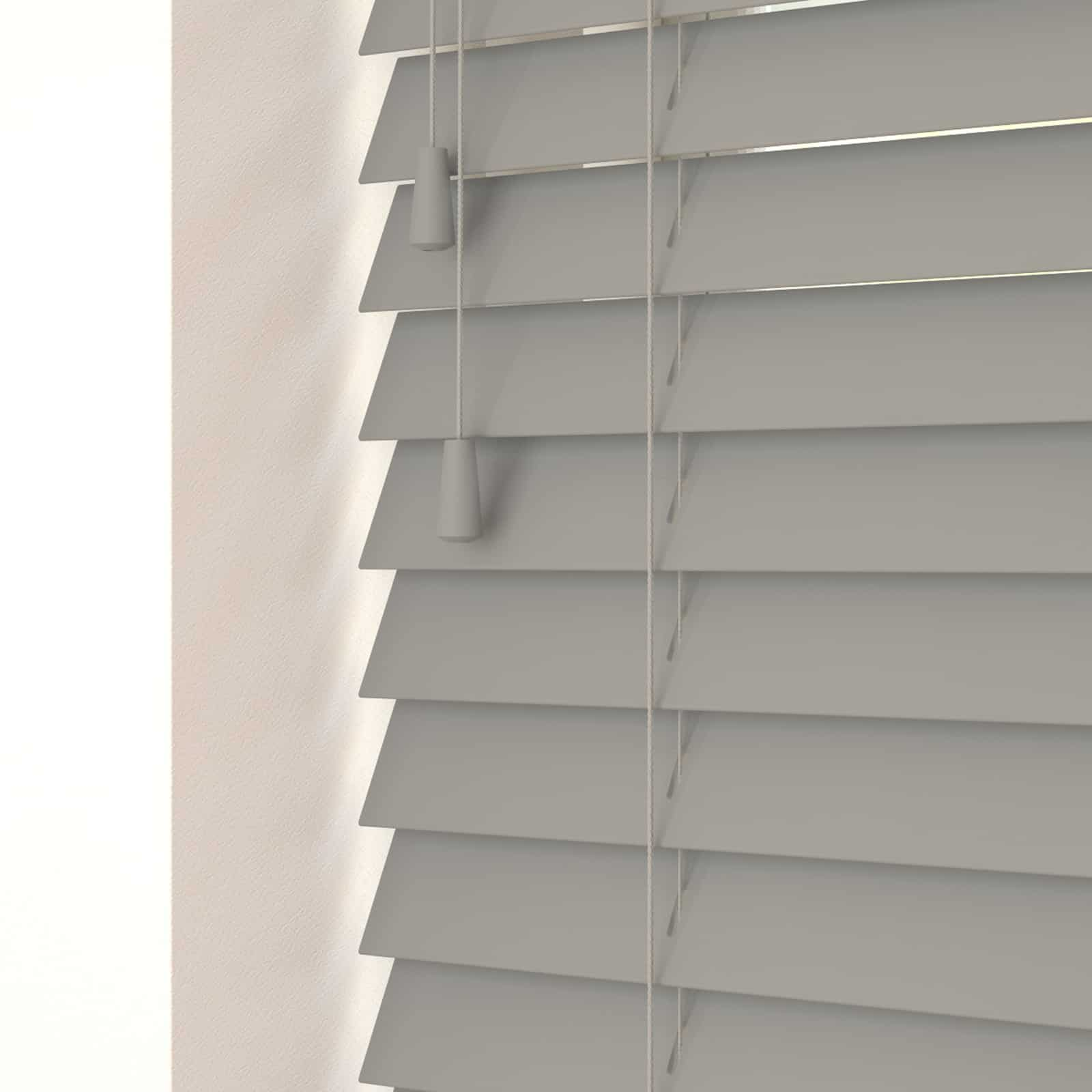 Cheapest Blinds UK Ltd Steel Grey Faux Wood With Cords