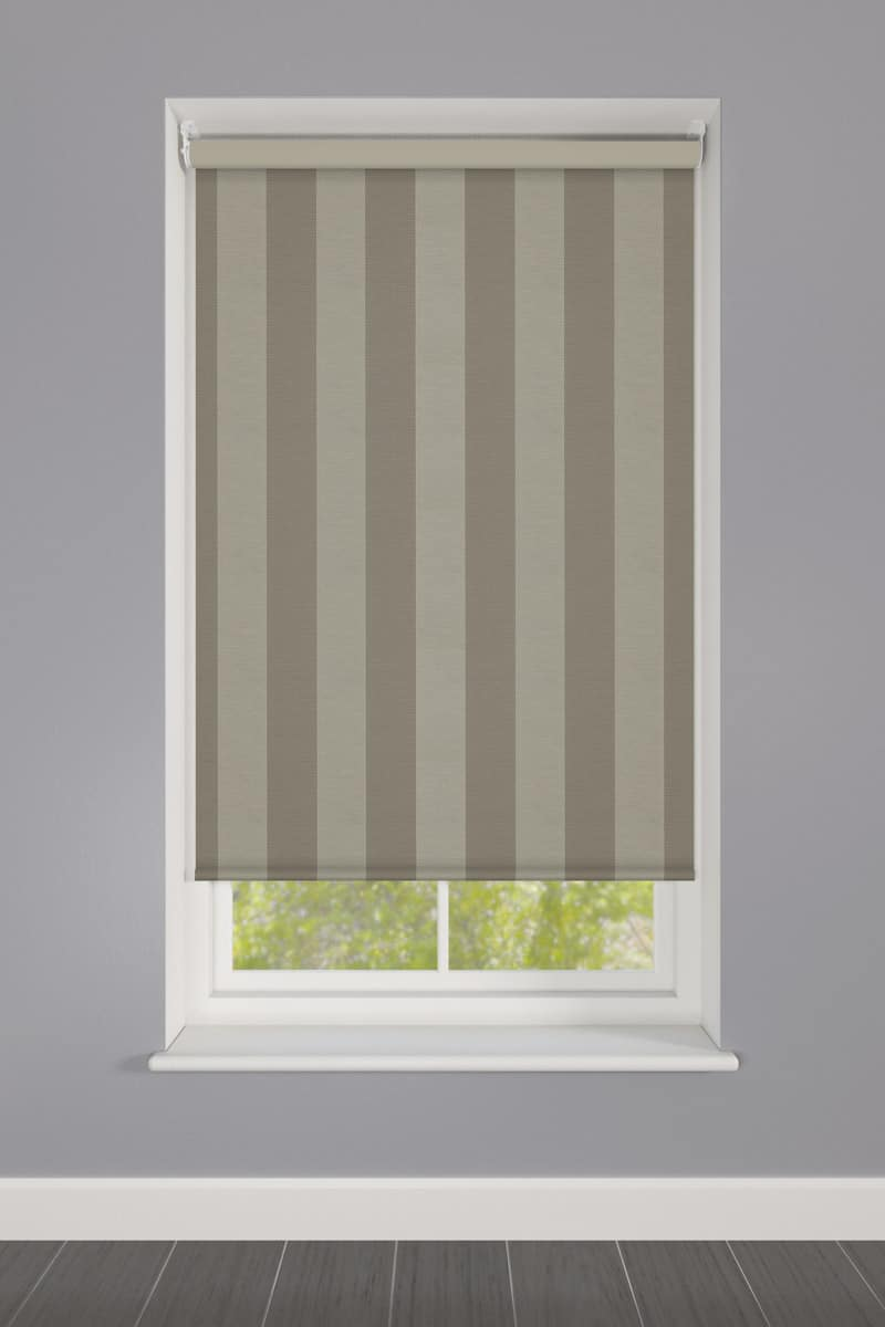 Cheapest Blinds Uk Ltd Dark Beige Striped Roller Blind