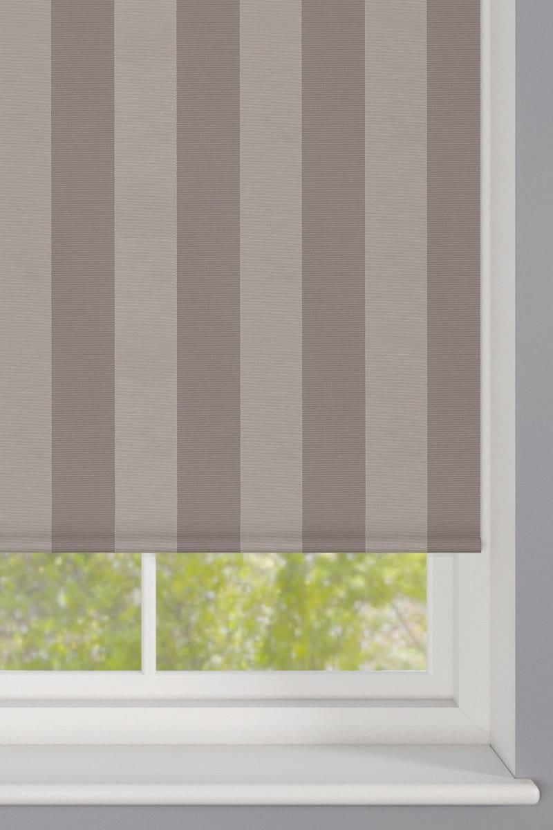 Cheapest Blinds UK Ltd Dark Beige Striped Roller Blind