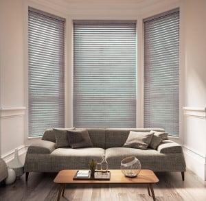 medium grey wood Venetian blinds with cords
