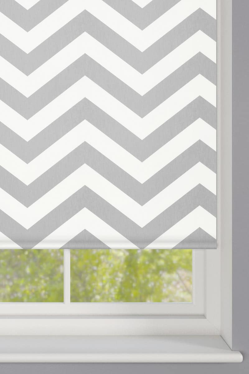 Cheapest Blinds Uk Ltd Grey Zigzag Striped Roller Blind