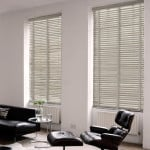 light grey wood venetian blinds with tapes