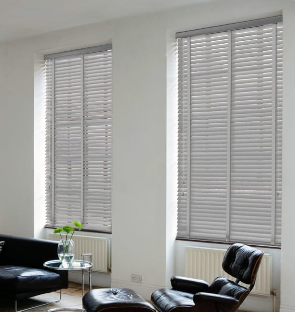 Medium Grey Wooden Venetian Blinds With Tapes