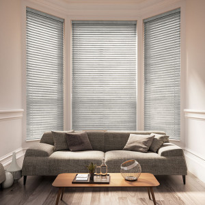 light grey wood venetian blinds