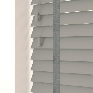 Steel Grey Faux Wood Venetian Blinds With Tapes