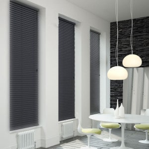 dark grey wooden Venetian blinds with cords