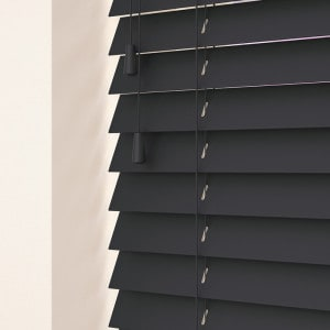 dark grey wood Venetian blinds with cords